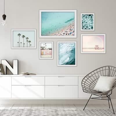 Beach Photography - 6 Piece Framed Print Gallery Wall Art Set