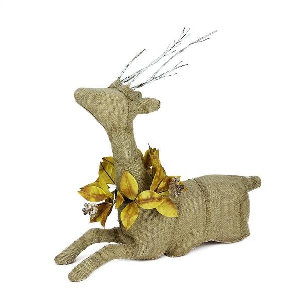 """20"""" Rustic Burlap Reindeer Wearing Amber Leaves and Berries Decorative Sitting Christmas Figure"""