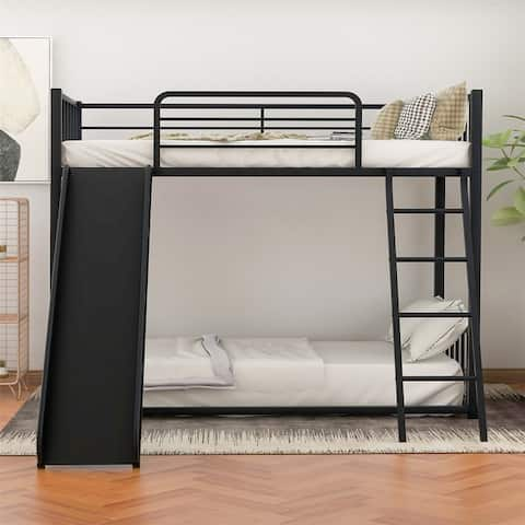 Merax Metal Twin over Twin Bunk Bed with Slide