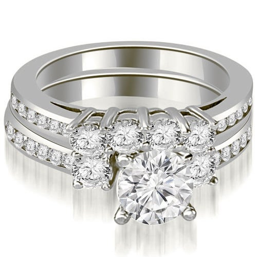 2.27 cttw. 14K White Gold Round Cut Diamond Engagement Set