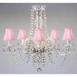 Swarovski Crystal Trimmed Chandelier Lighting & Pink Shades H25 x W24