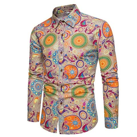 Men's Floral Shirts Printed Slim Fit Long Sleeve Stylish Casual Button Down Shirt
