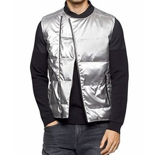 Calvin Klein NEW Silver Mens Size Quilted Medium M Puffer Jacket Vest