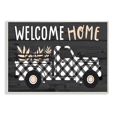 Stupell Industries Black Farmer's Plaid Truck Welcome Home Sign Wood Wall Art - Multi-Color