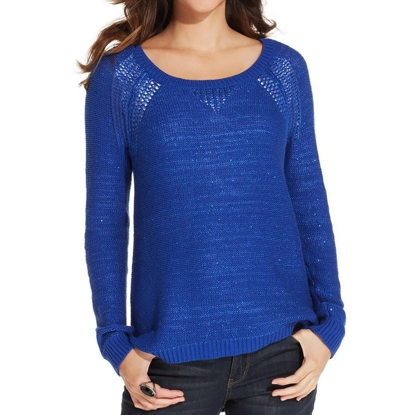 DKNY Jeans Womens Pullover Sweater Sequined Crew Neck