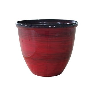 """The Your Choice 10"""" Oriental Indoor and Outdoor Ceramic Resin Planter Pot for growing plants. 10"""" Planter and Pot,  Red"""
