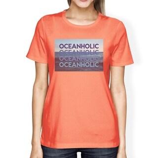 Oceanholic Womens Peach Graphic Lightweight Tropical Design Tshirt