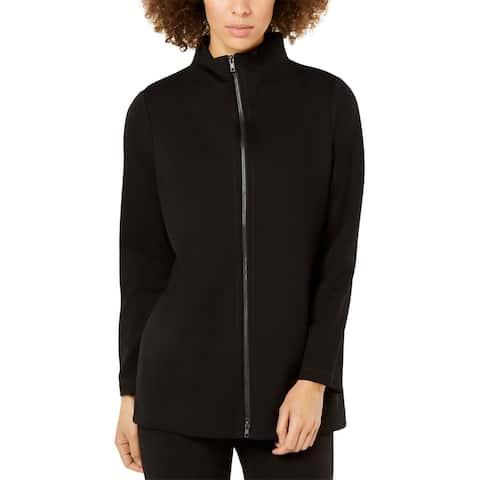 Eileen Fisher Womens Petites Jacket Tencel Blend Lightweight - Black - PP