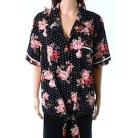 Monteau Black Womens Size 2X Plus Tie Front Button Down Floral Shirt
