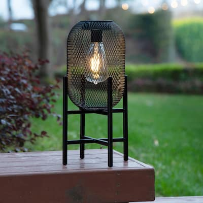 Glitzhome Metal Mesh Black Solar Powered Outdoor Lantern with Stand