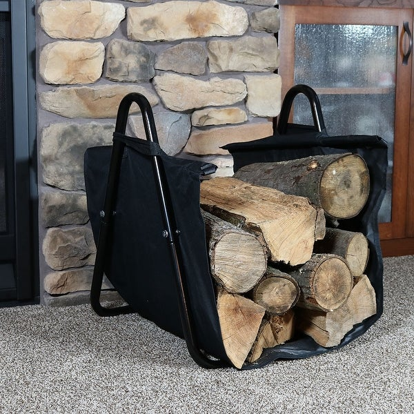 Sunnydaze Canvas Firewood Log Carrier with Handles Heavy-Duty Log Tote and Rack