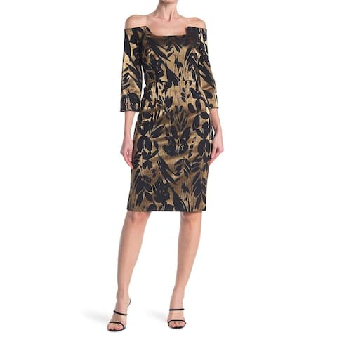 TRINA TURK Gold 3/4 Sleeve Knee Length Dress 2