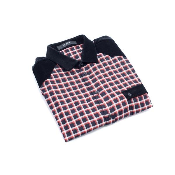 f476bd973992 Shop Givenchy Men s Cotton Red   Black Plaid Button Down - 44 - Free ...