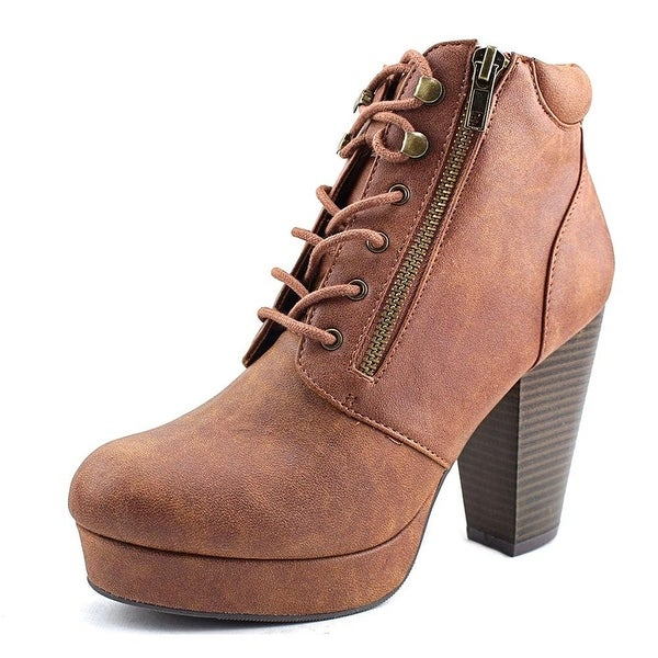 Material Girl Womens Rheta Closed Toe Ankle Fashion Boots, Cognac, Size 7.0