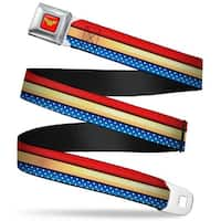 Wonder Woman Logo Full Color Red Wonder Woman Stripe Stars Red Gold Blue Seatbelt Belt