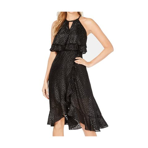 Kensie Women's Dress Black Size 16 Sheath Keyhole Metallic Halter