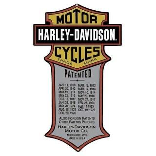 Harley-Davidson Patented Dates Tin Metal Sign 11 x 18 Inches 2010181