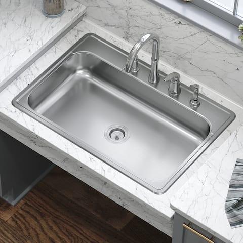 ADAT550S 18 Gauge Single Bowl Stainless Steel Kitchen Sink, Sink Only