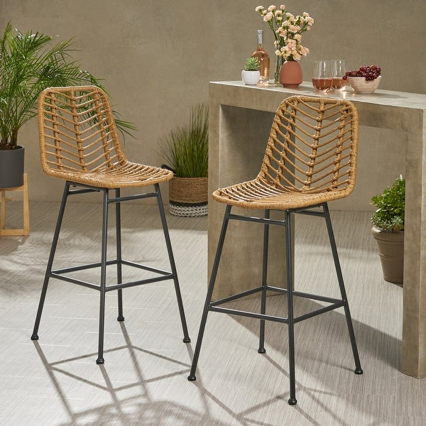 Sawtelle Outdoor Wicker Barstools (Set of 2) by Christopher Knight Home. Opens flyout.