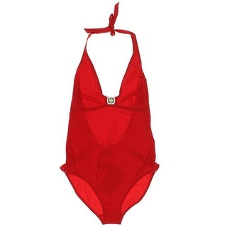 Tory Burch Womens Embellished Halter One-Piece Swimsuit - L