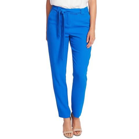 Vince Camuto Women's Parisian Crepe Belted Slim Leg Pants Blue Size 2