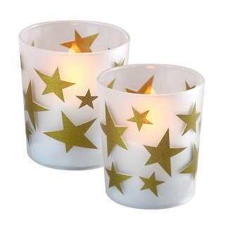 """Set of 2 Battery Operated Gold Stars Design Frosted Glass with LED Candle 3.75"""""""