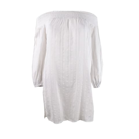 Lauren by Ralph Lauren Women's Plus Size Off-The-Shoulder Dress Swim Cover-Up - White - 2X