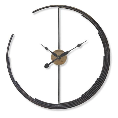 Set of 2 Rustic Black Iron Clock Wall Decoration 28.5""