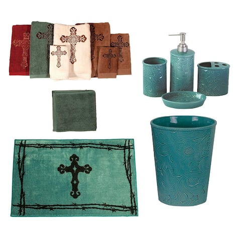 HiEnd Accents Turquoise Savannah 13 PC Bath Accessary and Cross Towel Set - Multi
