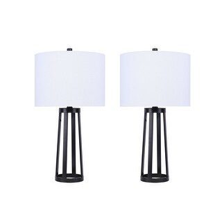 "Link to 24"" Metal Table Lamps with Industrial Design and Linen Shades (Set of 2) Similar Items in Table Lamps"