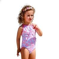 Sun Emporium Baby Girls Sky Blue Pink Racer Back Swimsuit