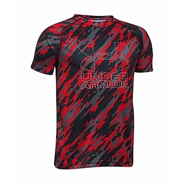 Under Armour Red Boys Size XL Printed Logo Performance Shirt