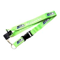 NFL Lanyard Keychain Batch Id Holder Seattle Seahawks Green - Green
