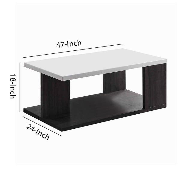 Wooden Coffee Table With Open Shelf Glossy White And Brown On Sale Overstock 31606283