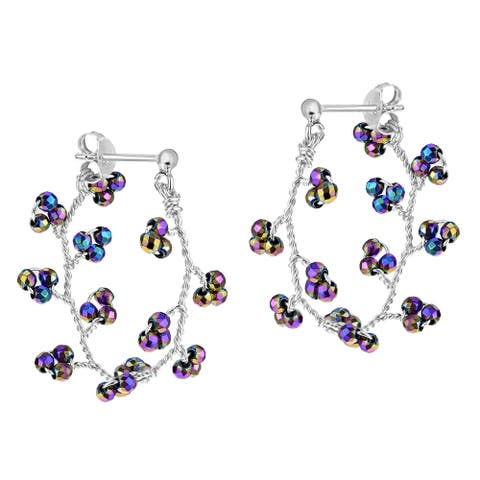 Handmade Multicolor Quartz Twisted Vines Sterling Silver Front-Back Hoop Earrings (Thailand)