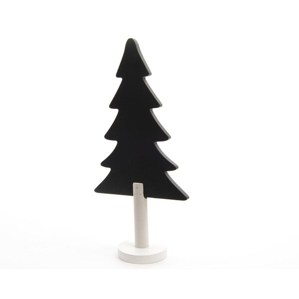 "12"" Alpine Chic Black and White Chalkboard Christmas Tree Table Top Decoration"