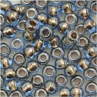 Toho Round Seed Beads 6/0 992 Gold Lined Lt Montana Blue 8 Gram Tube