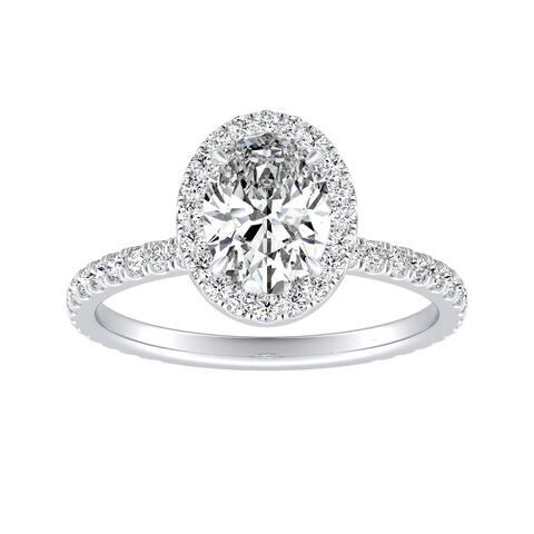 Auriya 18k Gold 1 5/8ctw Oval Halo Diamond Engagement Ring