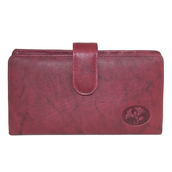 Buxton Women's Leather Slim Floral Embossed Checkbook Cover Wallet - One size