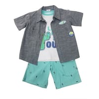 Children App Little Boys Gray Button Shirt T-Shirt 3 Pc Shorts Outfit