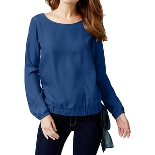 MICHAEL Michael Kors Womens Blouse Side Tie Scoop Neck