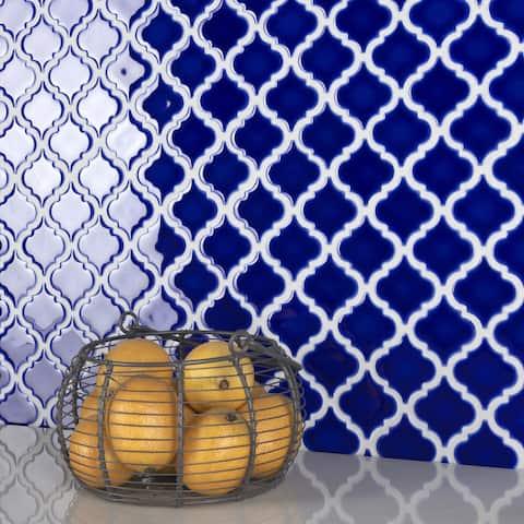 "SomerTile Hudson Tangier Cobalt Blue 12.38"" x 12.5"" Porcelain Mosaic Tile"