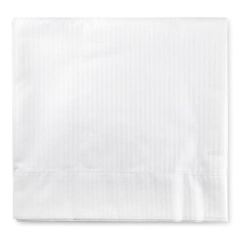 Trident Whites Hotel King Flat Sheet, Cotton, Twill Stripe Weave