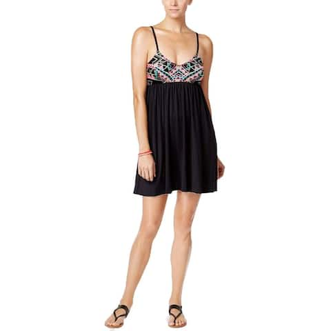 COCO RAVE Women's NEW $68 Ari Printed Babydoll Cover-Up (Jet Black, S) - Small