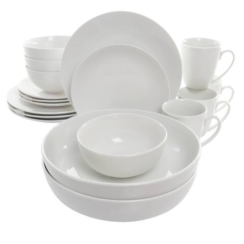 Elama Owen 18 Piece Porcelain Dinnerware Set with 2 Large Serving Bowls in White