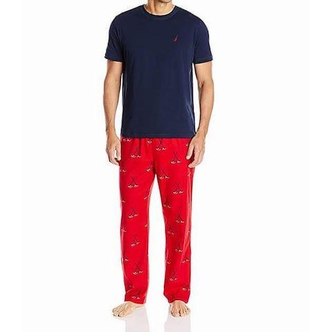 Nautica Mens Sleepwear Blue Size Large L Hockey-Graphic Pajama Set