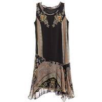 """Women's Paisley Flounce Dress - Sleeveless Asymmetrical Drop Waist - 37"""""""