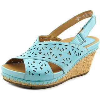 Earth Aries Women  Open Toe Leather Blue Wedge Sandal