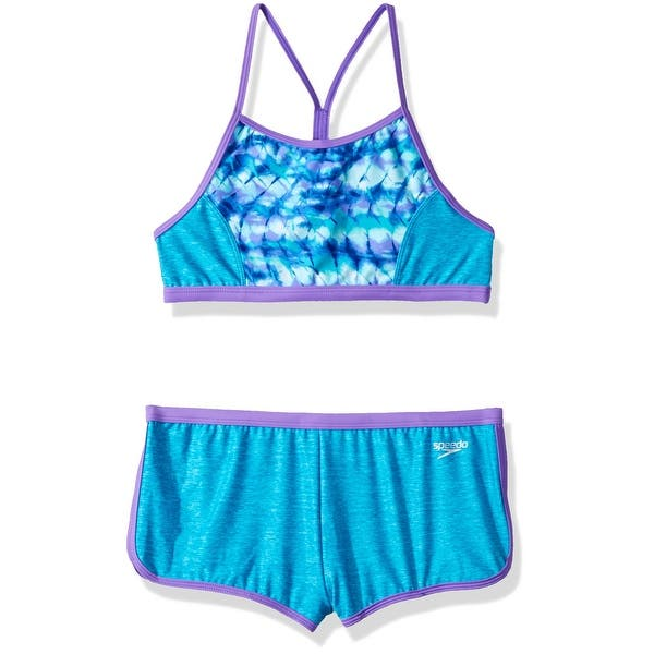 dde7e904e1 Shop Speedo Blue Girls Size 12 Two-PC Swimwear Boyshort Tankini Set ...
