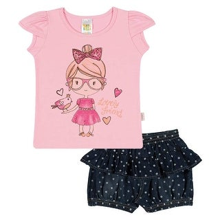 Baby Girl Set Graphic Tee Shirt and Shorts Outfit Infant Pulla Bulla 3-12 Months
